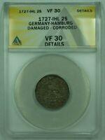 1727-IHL Germany-Hamburg 2S Shilling Silver ANACS VF-30 Details Damaged Corroded