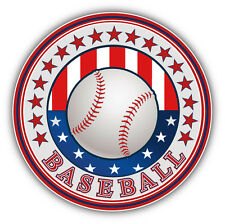 Baseball Label USA Flag Car Bumper Sticker Decal 5'' x 5''