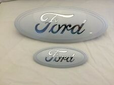 "2004-2014 Ford F150 WHITE EMBLEM,CHROME Logo Oval 9""& 7 Grille & Tailgate EMBLEM"