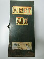 Vintage Golden State Supply Co Green Metal First Aid Kit w/ 4 Antiseptic Bottles