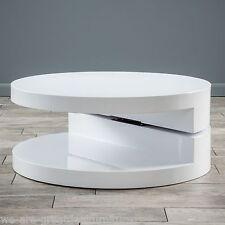 Modern Design Large White Hi-Gloss Circular Swivel Rotating Coffee Table