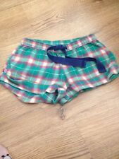 Ladies Topshop Green Tartan Pyjama Shorts UK Size 8