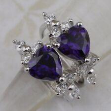 Jewelry Gold Filled Huggie Earrings h2851 Cute Nice Amethyst Purple Heart Gems