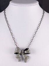 BLACK TONE CHAIN  NECKLACE WITH DROP RHINESTONE BOW DESIGN NECKLACE