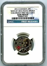 2012 CANADA WAR OF 1812 ISAAC BROCK COLOR QUARTER NGC GEM PROOF FIRST RELEASE