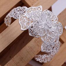 Unisex Men Womens Sterling Silver Cuff Bangle Flower Leaves Bracelet L89