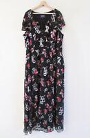 Modcloth X Anna Sui Size 24-26 Black Floral Flocked Velvet Flowy Maxi Dress $290