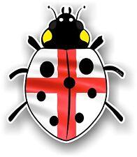 Belle Coccinelle Ladybug design avec St Georges Croix Angleterre Drapeau Autocollant Voiture