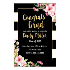 30 invitations cards graduation party girl watercolor flowers glitter gold