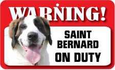 Saint Bernard Sign - Laminated Card -  Beware Of Dog 20cm x 12cm