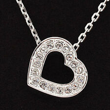 Swarovski Silver Open Heart Necklace, Pave Crystals, 956723, New W/ Velvet Pouch
