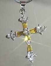 Pretty Created Citrine & Diamond Cross Pendant + Nacklace