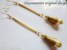 Art Deco Art Nouveau earrings Edwardian 1920s vintage style pearl drop LONG