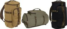 Cotton Canvas Convertible Duffle Carry Weekender Travel Bag & Backpack