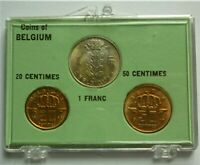 1958 1962 BELGIUM - UNC COIN SET (3) - 20 & 50 CENTIMES, 1 FRANC - RARE BEAUTY