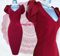 Size 10 KAREN MILLEN Red Maroon Puff Sleeves Evening Formal Pencil Dress EU 38