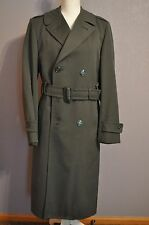 US ARMY OD GREEN Trench Coat Overcoat 34L WITH WOOL GABARDINE REMOVABLE LINER