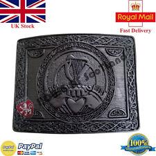 Men's Celtico Claddagh Kilt fibbia della cintura finitura nera/SCOTTISH Fibbia della Cintura ARPE celesti