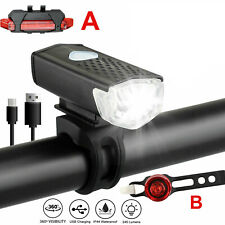 LED USB Rechargeable Bicycle Light Headlight Bike Front Rear Lamp Taillight Set