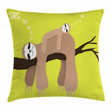 Sloth Throw Pillow Case Cartoon Mother Sleeping Square Cushion Cover 16 Inches