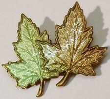 broche bijou vintage 2 feuilles érable base couleur or émail de couleur 2274