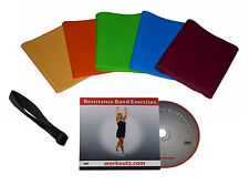 WORKOUTZ LATEX-FREE RESISTANCE BANDS SET WITH DVD AND DOOR ANCHOR FITNESS YOGA