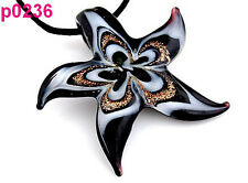 RETRO Starfish Lampwork Glass Pendant Necklace Cord p0236
