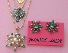 bj1 Betsey Johnson GP Enameled Blue & Pearl Snowflake Necklace Set w/Tags