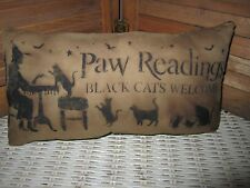 Primitive Stenciled Pillow - Halloween - Paw Readings
