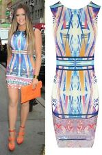 Ladies Women Flower Stripe Print Celebrity Short Length Bodycon Sleeveless Dress UK 8