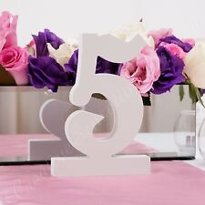 Freestanding White Wedding Table Numbers 170mm High Decoration Cutout Wooden