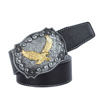 Western Leather Flying Eagle & Arabesque Cowboy Belt Buckle For Men Jeans