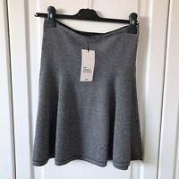 Zara Knit Black Stripe Stretch Knitted Mini Skater Skirt Size M / UK 12 BNWT