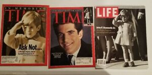 Lot of 3 Magazines - John F. Kennedy Jr. - Time 7/26/99, 8/2/99; Life 8/23/99