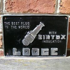 SINTOX LODGE SPARK PLUG Sign petrol oil garage sign black polished VAC011