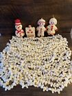 6 Vintage Plastic Blow Mold Buttered Popcorn Christmas Tree Garland & 4 Orn