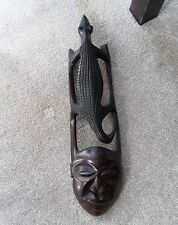 Wood Carved African Wall Mask Face/Crocodile Art Hanging Vintage Decorative