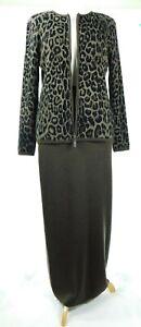 EUC Dana Buchman Brown Animal Print 100% Wool Sweater Jacket and Long Skirt Sz M