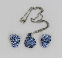 Vintage TRIFARI Blue Rhinestone Cluster Silver Tone Pendant Necklace Earring Set