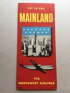 Vintage 1951 Northwest Airlines Stratocruiser Brochure and System Map