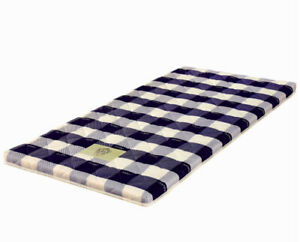 Thai Roll Mattress, Spare Bed, Blue Check Pattern, 198cm x 92cm. Roll mat Daybed