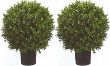 "2 ARTIFICIAL 24"" OUTDOOR UV BOXWOOD TOPIARY TREE BUSH BALL 4 3 5 POOL PATIO DECK"