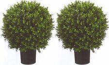 "2 ARTIFICIAL 24"" OUTDOOR UV BOXWOOD TOPIARY TREE PLANT BUSH BALL POOL PATIO DECK"