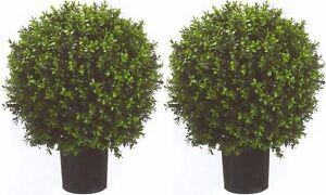 "2 ARTIFICIAL 24"" OUTDOOR UV BOXWOOD TOPIARY TREE BUSH BALL 4 3 5 POOL PATIO DECK"