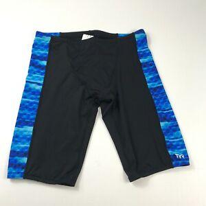 TYR Jammer Swim Shorts Blue Black Stretch Trunks Swimsuit Mens Size 36