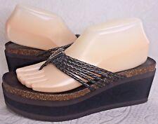 Donald J Pliner Women 8 N Bronze Brown Flatform Platform Thong Sandal Wedge EUC