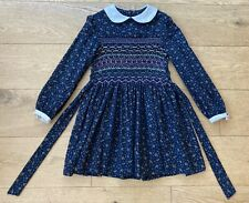 Vintage Ditsy Floral Hand Smocked Girls Dress Peter Pan Collar Age 6-8 Years