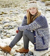 Tromso hecho a mano para mujer 100% Lana Botón Chaqueta Medio 12 nuevo PVP £ 79.95 Denim