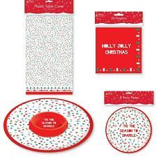 Christmas Table Decorations Tablecover Napkins Plates Trays Xmas Festive Novelty