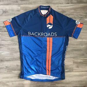 Louis Garneua Cycling Jersey Mens Medium M SS Blue Backroads